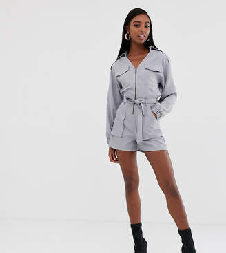 93f5e298220a Missguided Tall utility belted playsuit in grey