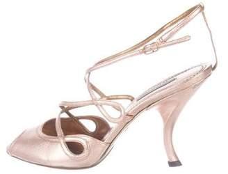 Dolce & Gabbana Metallic Ankle-Strap Pumps