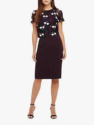 Phase Eight Margo Lace Dress, Grape/Petal