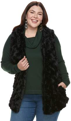 Laundry by Shelli Segal Plus Size French Faux-Fur Tunic Vest