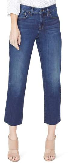 Jenna Straight Leg Raw Hem Ankle Jeans