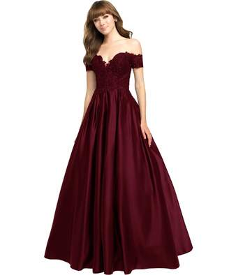fdb58b04d67 Yilis Women s Beaded Off The Shoulder Short Sleeves Satin Lace Prom Dress  Long A Line Evening