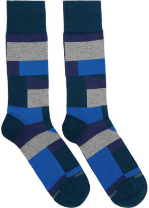 BOSS Blue RS Block Pattern Socks