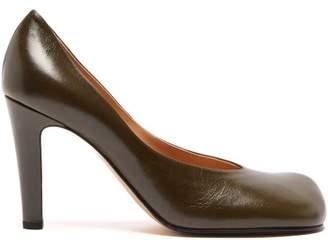 Bottega Veneta Square Toe Leather Pumps - Womens - Khaki