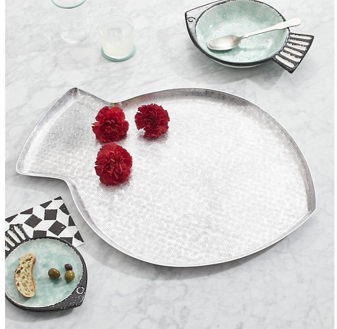 Crate & Barrel Fish Large Aluminum Tray