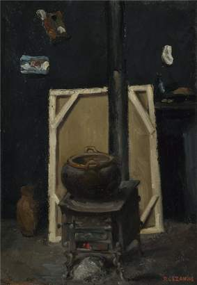 Cezanne Oil Paintings Canvas Prints 'Paul The Stove in the Studio ' oil painting, 10 x 14 inch / 25 x 37 cm ,printed on polyster Canvas ,this High Resolution Art Decorative Canvas Prints is perfectly suitalbe for Basement decor and Home decor and Gifts