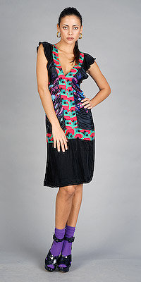 Black Printed Knee Length Dresses by Custo Barcelona