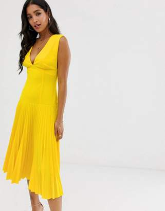 Asos Design DESIGN dropped waist pleated midi dress