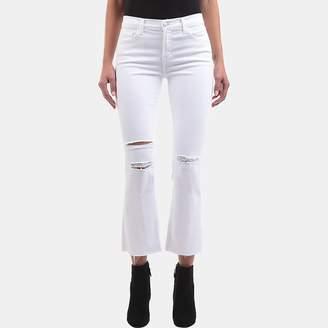 J Brand Selena Mid-Rise Crop Boot-Cut Jean in White Mercy