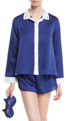 Kate Spade Cat Nap Short Pajama Set With Sleep Mask
