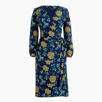 J.Crew Golden floral wrap dress in 365 crepe