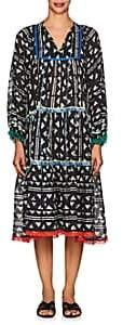 Warm Women's Cowerie Block-Print Cotton Dress - Black