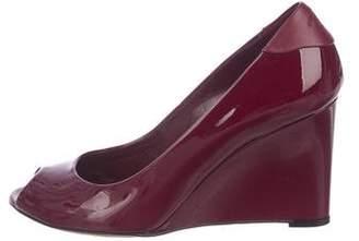 80d4cc77b46 Gucci Patent Leather Peep-Toe Wedges