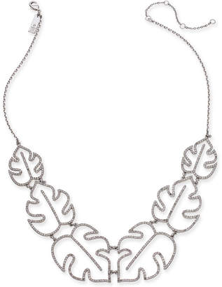 """INC International Concepts I.n.c. Silver-Tone Pave Palm Leaf Statement Necklace, 20"""" + 3"""" extender, Created for Macy's"""