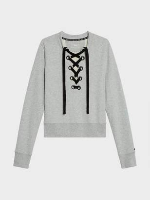 DKNY Lace Up Pullover Sweatshirt Smoke S