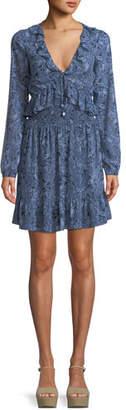 MICHAEL Michael Kors Paisley-Print Smocked-Waist Mini Dress