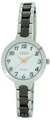 Aureole [オレオール 3針 日常生活防水 ステンレスケース セラミックバンド(一部ステンレス) クリスタルガラス プッシュバックル レディス(女性向け) 腕時計 SW-599L-05