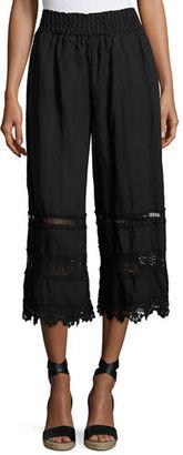 Johnny Was Linen Crochet-Trim Cropped Pants $200 thestylecure.com