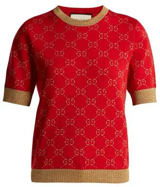 Gucci Gg Jacquard Knit Cotton Blend Sweater - Womens - Red