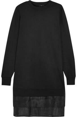 CLU - Pleated Organza-trimmed Stretch-jersey Mini Dress - Black $380 thestylecure.com