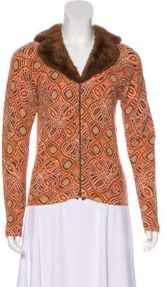 Blumarine Patterned Faux Fur-Trimmed Cardigan multicolor Patterned Faux Fur-Trimmed Cardigan