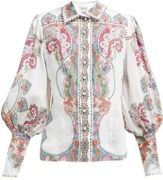 Zimmermann Ninety Six Paisley Print Ramie Shirt - Womens - Pink Print