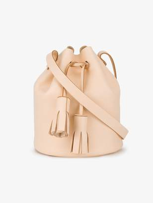 At Browns Fashion Building Block Peach Tassel Leather Bucket Bag