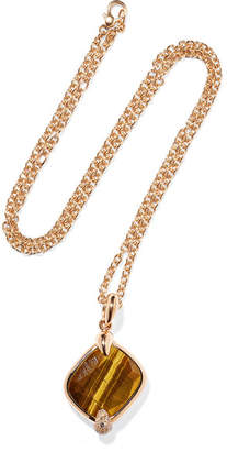 Pomellato Ritratto 18-karat Rose Gold, Tiger Eye And Diamond Necklace