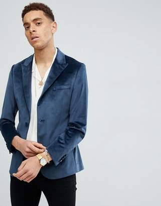 Moss Bros skinny blazer in blue velvet