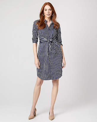 Le Château Stripe Cotton Poplin Tie Front Shirtdress