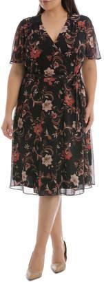 Jacobian Floral Print Wrap Dress