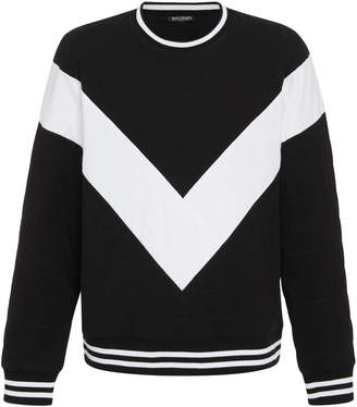 Balmain Chevron-Striped Cotton-Jersey Sweatshirt