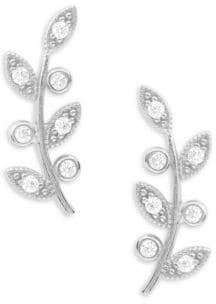 Tai Stone-Accented Sterling Silver Leaf Stud Earrings