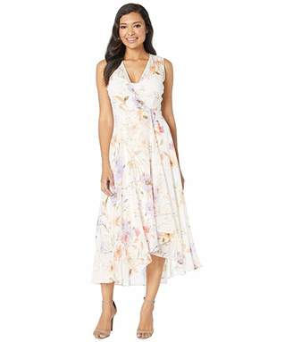 Calvin Klein Floral Print High-Low Chiffon Maxi Dress