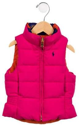 Ralph Lauren Girls' Reversable Zip-Up Vest