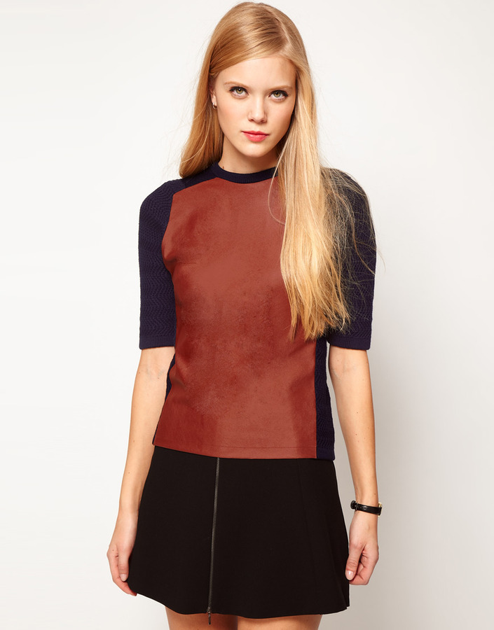 Asos Leather Look Panel Knitted Tee
