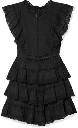 Zimmermann Juniper Lace-trimmed Tiered Pintucked Cotton-voile Mini Dress - Black