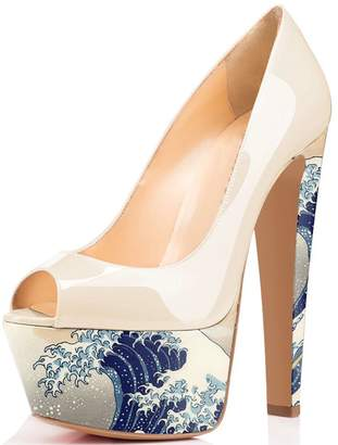 FSJ Platform Pumps Patent Leather Shoes Peep Toe High Chunky Heels for Women  with Plus 3d5a4659e9ab