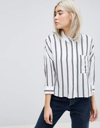 Pull&Bear Stripe 3/4 Sleeve Shirt