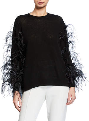 Valentino Ostrich Feather Cashmere Sweater