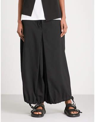 Y's Ys Cropped wide-leg wool-blend trousers