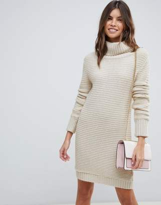 Asos DESIGN sweater dress with roll neck in ripple stitch