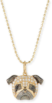 Sydney Evan 14k White Diamond Pug Pendant Necklace
