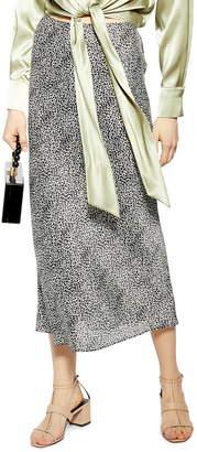 Topshop Animal Spot Bias Midi Skirt