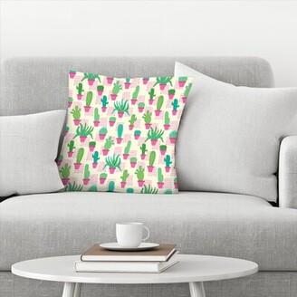 East Urban Home Frankie Van Mourik Cactus in Pots Throw Pillow East Urban Home