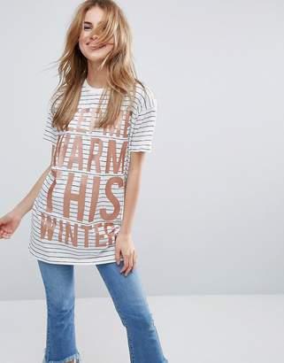 Asos HOLIDAYS T-Shirt With Keep Me Warm Metallic Print