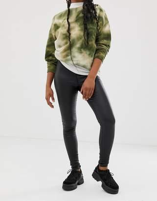Noisy May coated skinny jeans in black