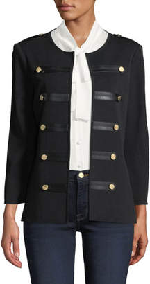 Misook Knit Military Jacket with Faux-Leather Epaulets, Petite