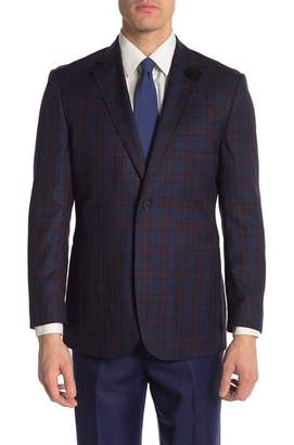 English Laundry Navy Red Plaid Two Button Peak Lapel Blazer
