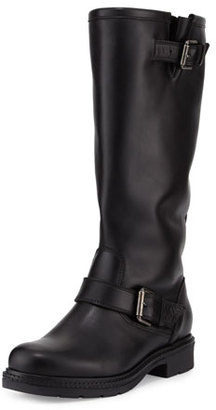 La Canadienne Crista Leather Buckle Knee Boot, Black $297 thestylecure.com